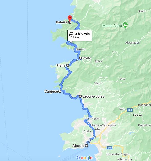Itinerario in Corsica: Ajaccio - Sagone - Cargese - Piana - Calanche - Porto - Riserva di Scandola - Galeria