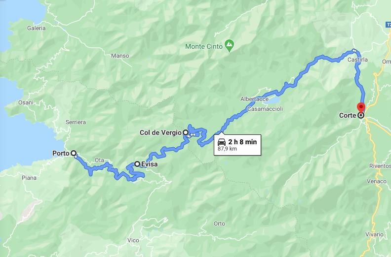 Itinerario in Corsica: Porto - Evisa - Col de Vergio - Corte